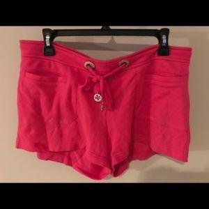 TORY BURCH Pink Jerey Shorts Small Gold Logo Ties